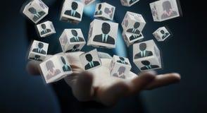 Uomo d'affari che sceglie candidato per una rappresentazione di lavoro 3D Fotografie Stock Libere da Diritti