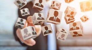 Uomo d'affari che sceglie candidato per una rappresentazione di lavoro 3D Immagine Stock