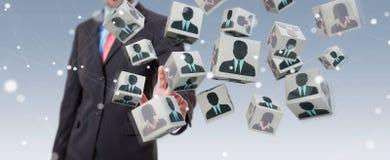 Uomo d'affari che sceglie candidato per una rappresentazione di lavoro 3D Fotografia Stock Libera da Diritti
