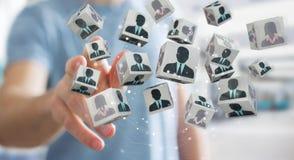 Uomo d'affari che sceglie candidato per una rappresentazione di lavoro 3D Immagini Stock Libere da Diritti