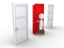 Uomo d'affari che sceglie la porta rossa Fotografia Stock