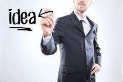 Uomo d'affari che scrive l'idea di parola Immagine Stock Libera da Diritti