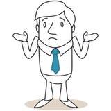 Uomo d'affari che scrolla le spalle le spalle illustrazione di stock