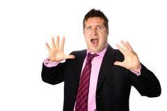 Uomo d'affari che sembra scosso Fotografie Stock