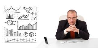 Uomo d'affari che si siede allo scrittorio con i diagrammi ed i grafici fotografia stock libera da diritti