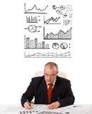 Uomo d'affari che si siede allo scrittorio con le statistiche ed i grafici fotografia stock