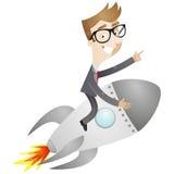 Uomo d'affari che si siede sul razzo illustrazione vettoriale