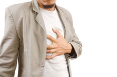 Uomo d'affari che soffre dall'attacco di cuore. Fotografia Stock Libera da Diritti