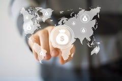 Uomo d'affari che spinge bottone con il web virtuale del dollaro Fotografia Stock