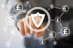 Uomo d'affari che spinge bottone con valuta del dollaro del virus di sicurezza dello schermo illustrazione vettoriale