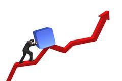 Uomo d'affari che spinge cubo blu 3D verso l'alto sulla linea di tendenza rossa Immagini Stock