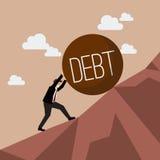 Uomo d'affari che spinge debito pesante in salita Immagine Stock