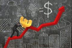 Uomo d'affari che spinge euro al punto di partenza del grafico di tendenza con dood Fotografia Stock Libera da Diritti