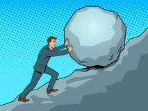 Uomo d'affari che spinge vettore in salita di Pop art della roccia Immagine Stock