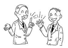 Uomo d'affari che sta divertendosi le opinioni parlanti - disegno a tratteggio illustrazione vettoriale
