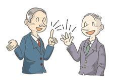 Uomo d'affari che sta divertendosi le opinioni parlanti - manga royalty illustrazione gratis