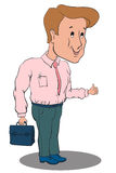 Uomo d'affari che sta in una camicia rosa e nei pantaloni verdi Fotografia Stock