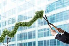 Uomo d'affari che taglia e regola una pianta a forma di come uno stats della freccia Concetto di start-up rappresentazione 3d Immagini Stock Libere da Diritti