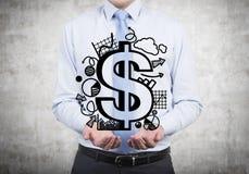 Uomo d'affari che tiene dollaro Fotografia Stock