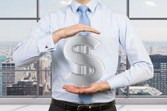 Uomo d'affari che tiene dollaro Fotografia Stock Libera da Diritti