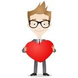 Uomo d'affari che tiene grande cuore royalty illustrazione gratis