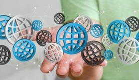 Uomo d'affari che tiene il rendering' digitale delle icone '3D di web Fotografie Stock Libere da Diritti