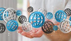 Uomo d'affari che tiene il rendering' digitale delle icone '3D di web Fotografia Stock Libera da Diritti