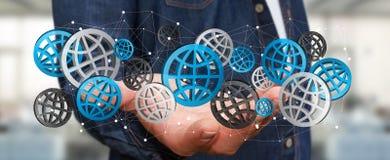 Uomo d'affari che tiene il rendering' digitale delle icone '3D di web Fotografie Stock