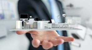 Uomo d'affari che tiene l'appartamento bianco della rappresentazione 3D Fotografia Stock Libera da Diritti