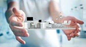 Uomo d'affari che tiene l'appartamento bianco della rappresentazione 3D Immagine Stock