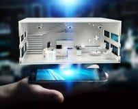 Uomo d'affari che tiene l'appartamento bianco della rappresentazione 3D Fotografie Stock