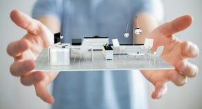 Uomo d'affari che tiene l'appartamento bianco della rappresentazione 3D Fotografia Stock
