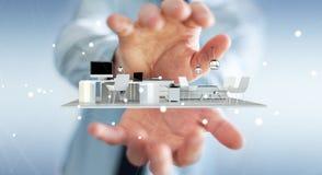 Uomo d'affari che tiene l'appartamento bianco della rappresentazione 3D Fotografie Stock Libere da Diritti