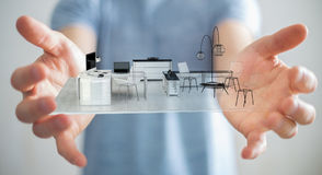 Uomo d'affari che tiene l'appartamento bianco della rappresentazione 3D Immagini Stock Libere da Diritti