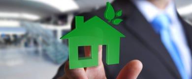 Uomo d'affari che tiene la casa di eco 3D e rendimento energetico Immagine Stock Libera da Diritti