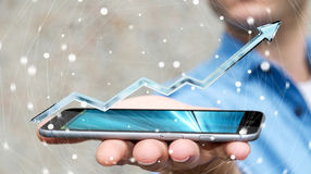 Uomo d'affari che tiene la rappresentazione blu digitale della freccia 3D Immagini Stock