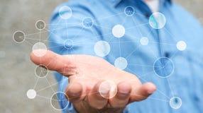 Uomo d'affari che tiene la rete di trasmissione di dati digitale nel suo renderin della mano 3D Fotografia Stock