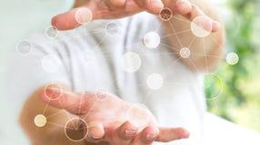 Uomo d'affari che tiene la rete di trasmissione di dati digitale nel suo renderin della mano 3D Immagini Stock