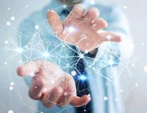 Uomo d'affari che tiene la rete di trasmissione di dati digitale nel suo renderin della mano 3D Immagini Stock Libere da Diritti