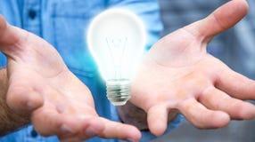 Uomo d'affari che tiene lampadina brillante nella sua rappresentazione della mano '3D Immagine Stock Libera da Diritti