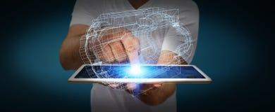 Uomo d'affari che tiene motore digitale 3D Fotografia Stock Libera da Diritti