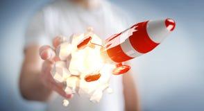 Uomo d'affari che tiene razzo rosso nella sua rappresentazione della mano 3D Fotografia Stock