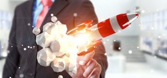 Uomo d'affari che tiene razzo rosso nella sua rappresentazione della mano 3D illustrazione di stock