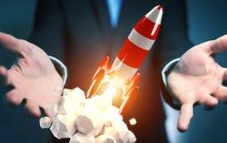 Uomo d'affari che tiene razzo rosso nella sua rappresentazione della mano 3D Immagini Stock Libere da Diritti