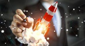 Uomo d'affari che tiene razzo rosso nella sua rappresentazione della mano 3D Immagini Stock