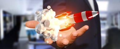 Uomo d'affari che tiene razzo rosso nella sua rappresentazione della mano 3D Fotografie Stock