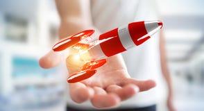 Uomo d'affari che tiene razzo rosso nella sua rappresentazione della mano 3D Fotografia Stock Libera da Diritti
