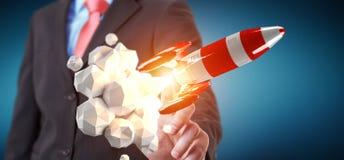 Uomo d'affari che tiene razzo rosso nella sua rappresentazione della mano 3D Immagine Stock Libera da Diritti