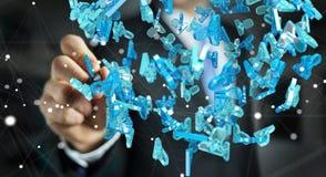 Uomo d'affari che tiene 3D che rende gruppo di gente blu Fotografia Stock