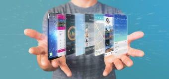 Uomo d'affari che tiene 3d che rende il modello di app su uno smartphone Immagine Stock